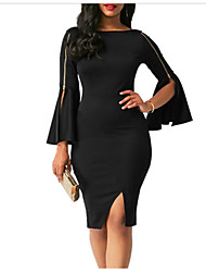 cheap -Women's Skinny Bodycon Dress - Solid Colored High Waist / Summer / Flare Sleeve