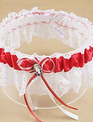 baratos -Poliéster Moderna / Casamento Wedding Garter Com Pedrarias / Laço Ligas Casamento / Festa