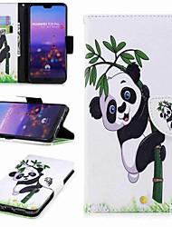 abordables -Coque Pour Huawei P20 lite P20 Pro Porte Carte Portefeuille Avec Support Clapet Motif Coque Intégrale Panda Dur faux cuir pour Huawei P20