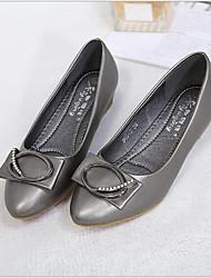 お買い得  -女性用 靴 PUレザー 春夏 コンフォートシューズ フラット フラットヒール ポインテッドトゥ のために アウトドア ブラック / グレー