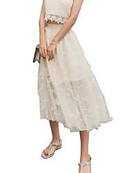 baratos -saia das mulheres maxi / midi saias de uma linha - cintura alta de cor sólida