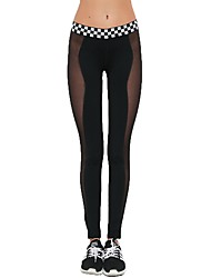baratos -Mulheres Patchwork Calças de Yoga Esportes Moderno Com Transparência Meia-calça Corrida, Fitness, Ginásio Roupas Esportivas Respirável, Secagem Rápida, Power Flex Elasticidade Alta