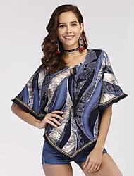 abordables -Mujer Borla Blusa Geométrico