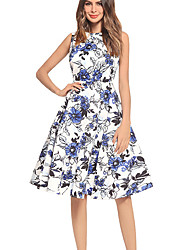 cheap -TS - Dreamy Land Women's Going out A Line Dress - Floral High Waist Crew Neck