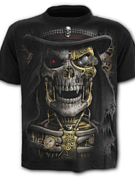 cheap -Men's Skull / Exaggerated Plus Size Cotton T-shirt - Graphic Print / Short Sleeve