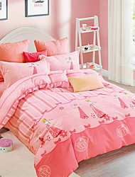 cheap -Duvet Cover Sets Cartoon Poly / Cotton Yarn Dyed 4 Piece