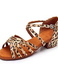 cheap -Girls' Latin Shoes Silk Heel Low Heel Customizable Dance Shoes Leopard / Indoor / Practice