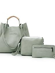 baratos -Mulheres Bolsas PU Conjuntos de saco 3 Pcs Purse Set Botões / Ziper Rosa / Cinzento / Marron