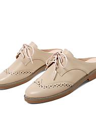 Недорогие -Жен. Обувь Наппа Leather / Кожа Весна / Лето Удобная обувь Башмаки и босоножки На низком каблуке Бежевый / Marron