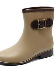 baratos -Mulheres Sapatos Látex Primavera Verão Botas de Chuva Botas Salto Robusto Ponta Redonda Botas Cano Médio Presilha para Ao ar livre
