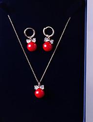 baratos -Mulheres Zircônia Cubica Conjunto de jóias - Bola, Com Laço Fashion, Elegante Incluir Brincos Compridos / Colares com Pendentes Vermelho Para Casamento / Presente
