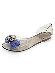 baratos -Mulheres Sapatos PVC Primavera / Verão Shoe transparente Sandálias Sem Salto Ponta Redonda Pedrarias Preto / Azul / Champanhe