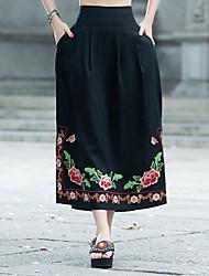 billige -kvinder går ud maxi / midi en linje nederdele - blomster