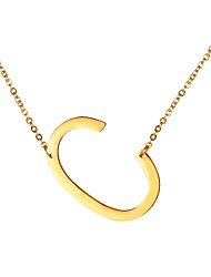 cheap -Men's Pendant Necklace - Stainless Steel Alphabet Shape, Letter Fashion Gold, Black, Silver 51 cm Necklace For Gift, Daily