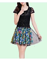 baratos -Mulheres Básico / Moda de Rua Evasê Vestido - Renda, Sólido / Floral Acima do Joelho