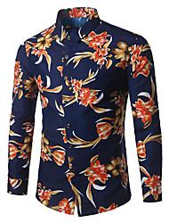 Недорогие -Муж. Офис Большие размеры - Рубашка Хлопок Деловые / Богемный Цветочный принт / Длинный рукав