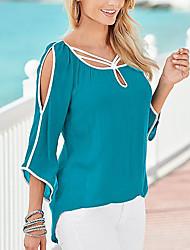 abordables -Mujer Noche Algodón Camiseta Un Color