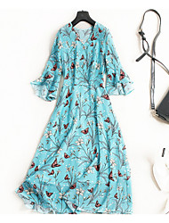 cheap -Miss French Women's Simple / Street chic Flare Sleeve A Line Dress - Floral Ruffle