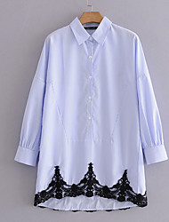 cheap -Women's Daily / Holiday Basic Shirt - Striped Lace / Patchwork Shirt Collar / Spring / Summer