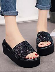 cheap -Women's Shoes Fabric Summer Comfort Slippers & Flip-Flops Platform Gold / Black