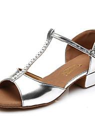 preiswerte -Mädchen Schuhe für den lateinamerikanischen Tanz PU Absätze Blockabsatz Tanzschuhe Gold / Silber / Leistung