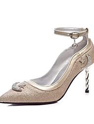 preiswerte -Damen Schuhe Künstliche Mikrofaser Polyurethan Frühling Sommer Pumps High Heels Walking Stöckelabsatz Spitze Zehe Gold / Schwarz