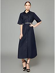 baratos -Mulheres Sofisticado / Moda de Rua Reto / Ganga / Camisa Vestido Sólido Longo