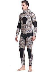 abordables -Homme Combinaison  Intégrale 5mm CR Néoprène Combinaisons Séchage rapide Manches Longues Fermeture Eclair Dorsale, 2 Pièces camouflage Automne