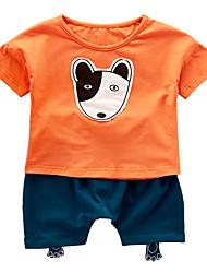 Недорогие -малыш Универсальные Активный Повседневные Собака Пэчворк Пэчворк С короткими рукавами Обычный Хлопок / Полиэстер Набор одежды Оранжевый 100 / Дети (1-4 лет)