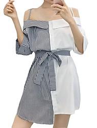 baratos -Mulheres Fofo Reto Vestido - Patchwork, Listrado Mini