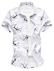 Недорогие -Муж. Рубашка Хлопок Классический Цветочный принт / С короткими рукавами