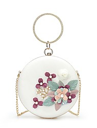 cheap -Women's Bags PU Leather Evening Bag Crystals / Pearls / Flower White / Black / Blushing Pink