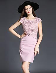baratos -Mulheres Sofisticado Bainha Vestido - Bordado, Floral Mini