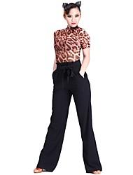 cheap -Latin Dance Bottoms Women's Training Poly&Cotton Blend Sashes / Ribbons Natural Pants / Belt