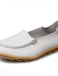 abordables -Femme Chaussures Cuir Automne hiver Confort / Moccasin Mocassins et Chaussons+D6148 Talon Plat Rouge / Bleu / Rose dragée clair