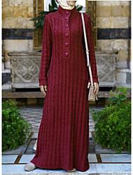 baratos -Mulheres Básico / Moda de Rua Bainha / Tricô / Abaya Vestido Sólido Longo