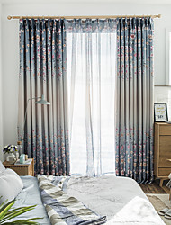 cheap -Blackout Curtains Drapes Living Room Floral Polyester Blend Printed