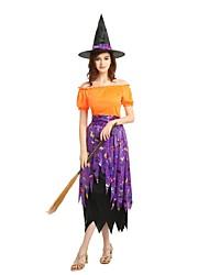 Недорогие -ведьма Костюм Универсальные Хэллоуин Маскарад День мертвых Фестиваль / праздник Костюмы на Хэллоуин Инвентарь Оранжевый Однотонный Halloween Хэллоуин
