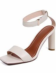 preiswerte -Damen Schuhe Leder Nappaleder Sommer Pumps Komfort Sandalen Blockabsatz für Normal Schwarz Beige Marron