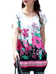 abordables -Mujer Activo / Básico Camiseta Floral / Bloques