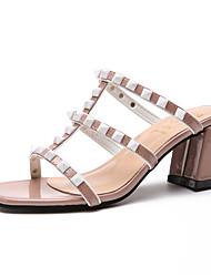 economico -Per donna Scarpe PU (Poliuretano) Estate Con cinghia Sandali Footing Heel di blocco Occhio di pernice Nero / Rosso / Rosa