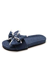 abordables -Femme Chaussures Tissu Eté Confort Chaussons & Tongs Talon Plat pour De plein air Bleu de minuit / Bleu clair
