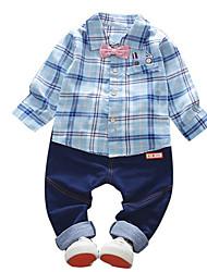 Недорогие -Дети Мальчики Полоски Длинный рукав Набор одежды