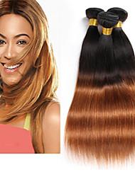 baratos -3 pacotes Cabelo Brasileiro Liso Cabelo Virgem / Cabelo Humano Âmbar 8-26 polegada Âmbar Tramas de cabelo humano Sem Cheiros / Natural / Melhor qualidade Extensões de cabelo humano / Reto