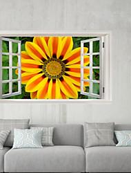 Недорогие -Декоративные наклейки на стены / Наклейки на холодильник - 3D наклейки Пейзаж / Цветочные мотивы / ботанический Гостиная / Спальня