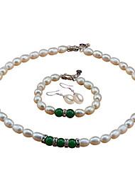 baratos -Mulheres Prata de Lei / Pérolas de água doce Luxo Conjunto de jóias 1 Colar / 1 Bracelete / Brincos - Luxo / Fashion / Elegante Formato