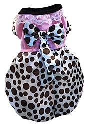 abordables -Chiens / Chats / Animaux de Compagnie Robe Vêtements pour Chien Points Polka / Nœud papillon Marron / Rouge Coton Costume Pour les