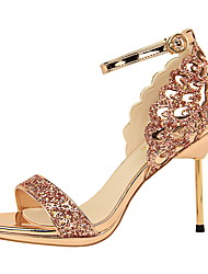 baratos -Mulheres Sapatos Glitter / Couro Ecológico Primavera Verão Tira no Tornozelo / D'Orsay Sandálias Salto Agulha Dedo Aberto Gliter com