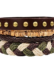 cheap -Layered / Stack Leather Bracelet - Fashion, Multi Layer Bracelet Brown For Ceremony / Street / 4pcs