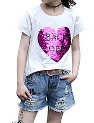 Недорогие -Дети Девочки Пэчворк С короткими рукавами Футболка